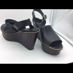 Coach Harla  Black platform sandals/gold beading 9